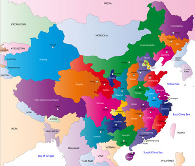 China provinces and capital cities map