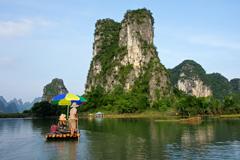 touring the Li River on a bamboo raft, Yangshou, China