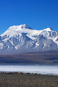 snowy mountains and frozen lake in Tibet